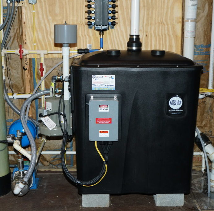 Radon in Water Remediation System to remove cancer causing radon in water with a water pressure booster pump