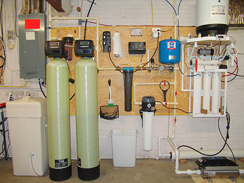 A Water Softener for hard water, an Acid Neutralizer for pH & corrosion control, a whole house sediment filter, a Constant Water Pressure Well Pump Control System & a Reverse Osmosis for 99.8% contaminant free cooking and drinking water with water pressure booster.