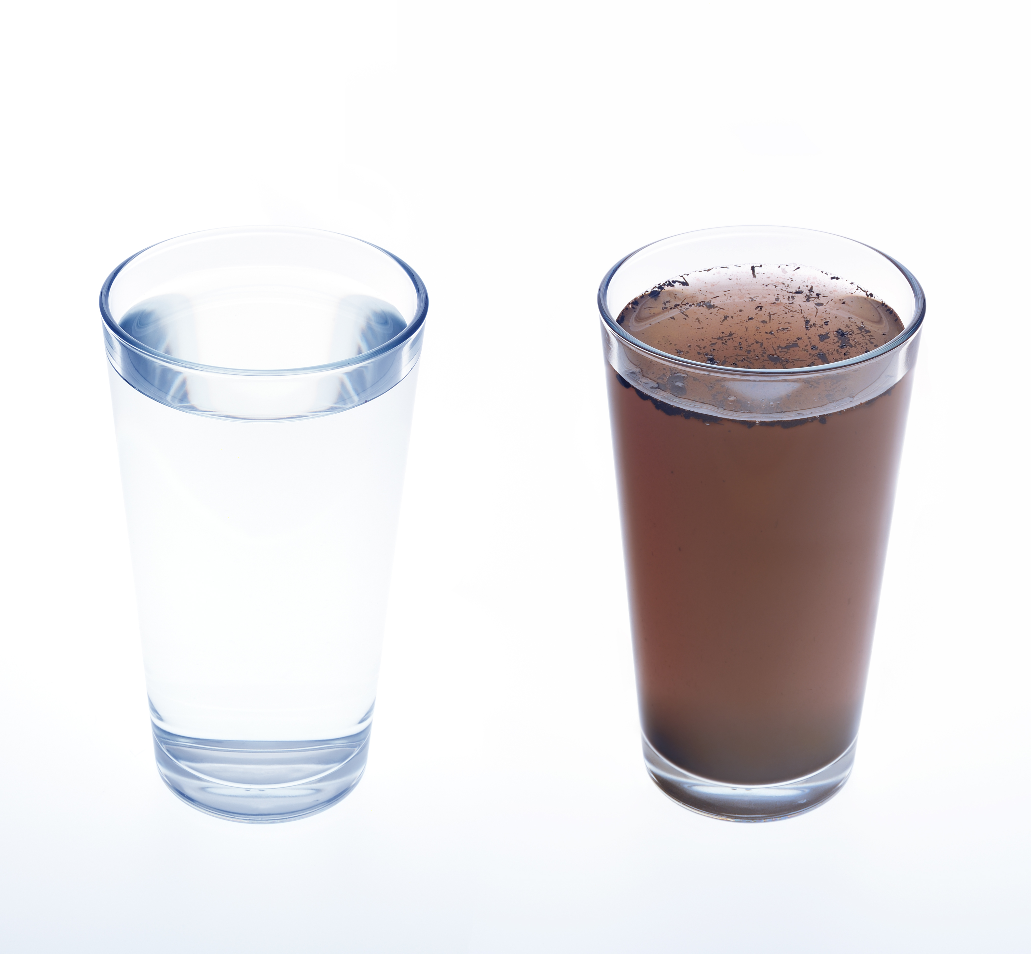 brown water in glass