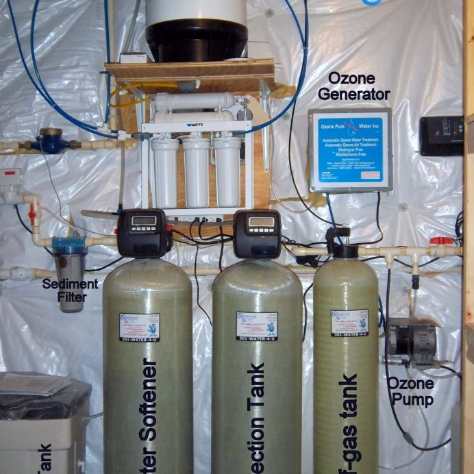 A Reverse Osmosis for 99.9% contaminant free cooking & drinking water, A Water Softener with Brine Tank for hard water, a Whole House Sediment Filter, a Sediment Collection Tank and a Whole House Ozone Generator to oxidize airborne odors and remove contaminants from water.
