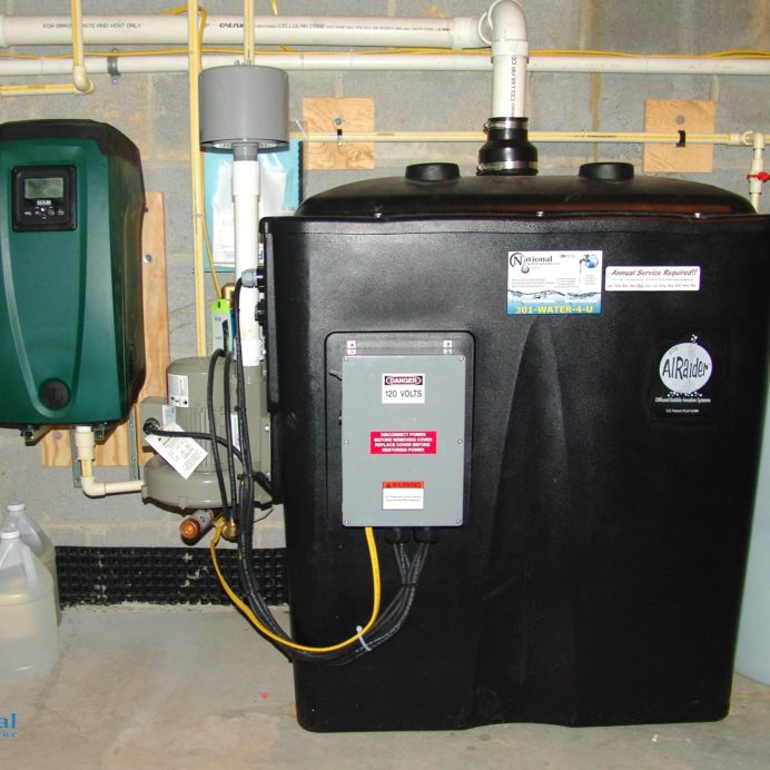 Radon in Water Remediation System to remove cancer causing radon in water with a water pressure booster pump and a Chemical Feeder for pH & corrosion control.