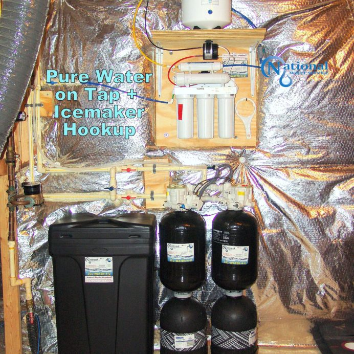 The Perfect City Water Treatment System. A Reverse Osmosis for 99.9% contaminant free drinking water and Twin Water Softener for hard water and Carbon Tank to remove low levels of radon & improve taste & odor of water