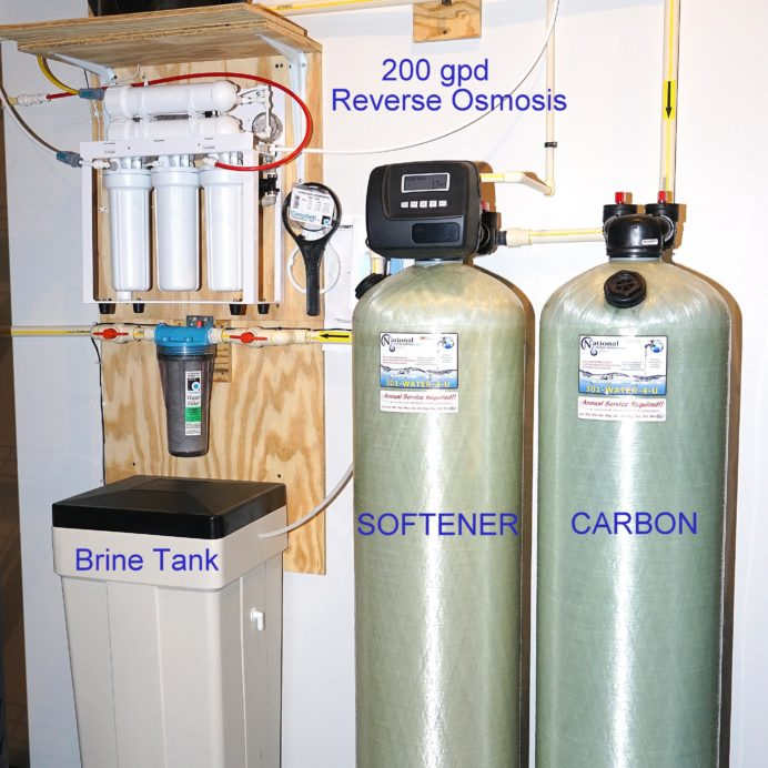 City Water In-Home Water Treatment. A Reverse Osmosis for 99.9% contaminant free cooking & drinking water, a  Water Softener for Hard Water and a Carbon Tank