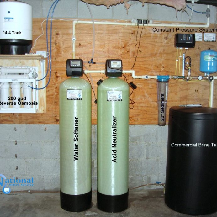 "A Reverse Osmosis for up too 99.9% contaminant free cooking & drinking water, a Water Softener with Commercial Sized Brine Tank for hard water, an Acid Neutralizer for pH & corrosion control, a 20"" Whole House Sediment Filter & a Constant Water Pressure Well Pump Control System."