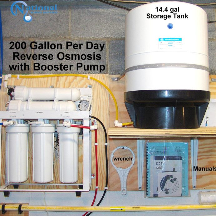 200 Gallon Per Day Reverse Osmosis System for 99.9% contaminant free cooking & drinking water with a water pressure booster pump