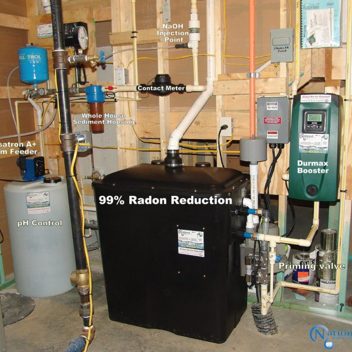 Radon in Water Remediation System with a water pressure booster pump, a Chemical Feeder for pH control & a Well Pump Constant Water Pressure System