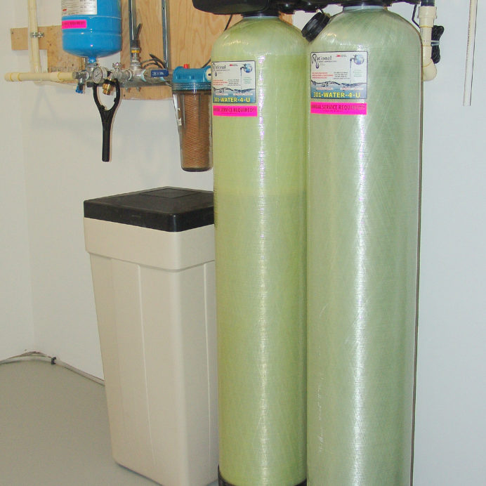 A Well Water Constant Pressure System,  a Water Softener with Brine Tank for hard water, an Acid Neutralizer for pH & corrosion control & a Whole House Sediment Filter