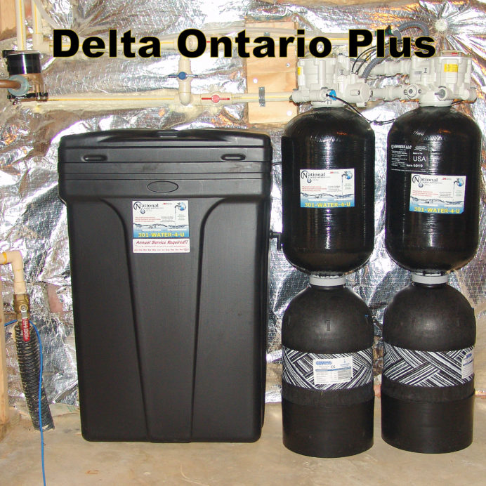 City Water Treatment, Twin Water Softener and Carbon Tanks with Brine Tank