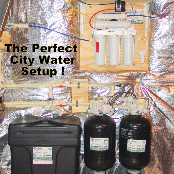 The Perfect Citry Water Treatment System. A Reverse Osmosis for 99.9% contaminant free drinking water and Twin Water Softener for hard water and Carbon Tank to remove low levels of radon & improve taste & odor of water