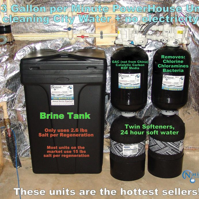 City Water Treatment, Twin Water Softener for hard water and Carbon Tanks to remove chlorine, chloramines, radon & bacteria from water with a Brine Tank