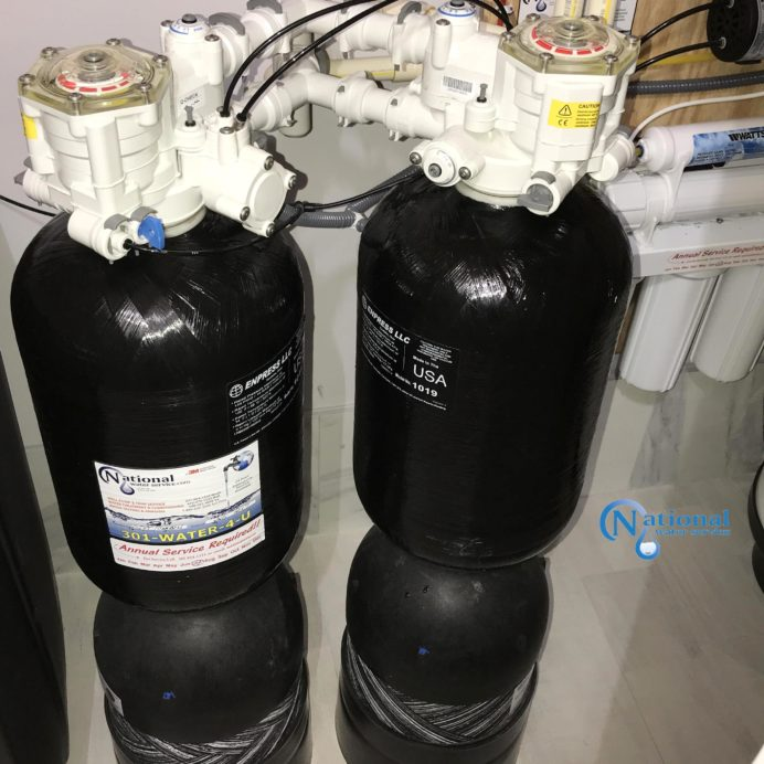 Twin High Efficiency Water Softeners. Perfect for City Water or small spaces