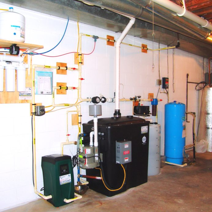 R.O., Booster, Radon Removal, pH Control Sediment filter and pressure tank
