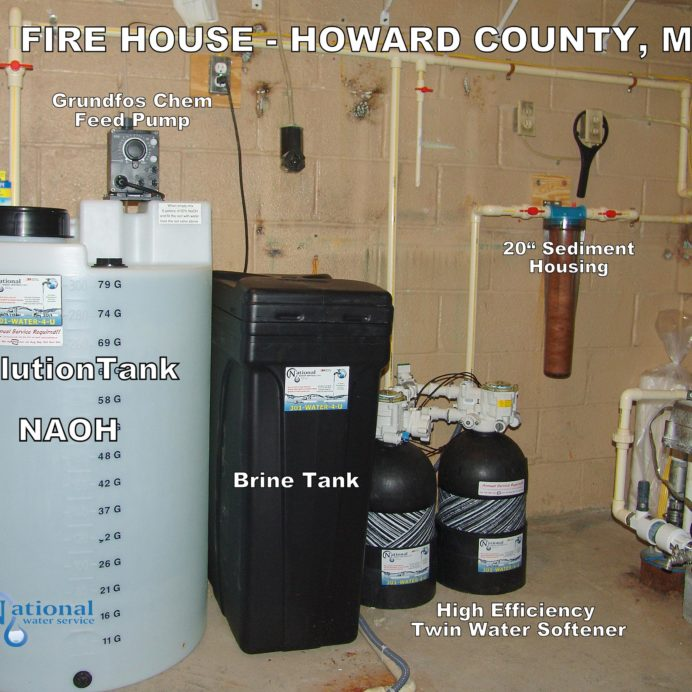 A Chemical Feeder, City Water Twin Softeners, A Whole House Sediment Filter and a Pressure Tank