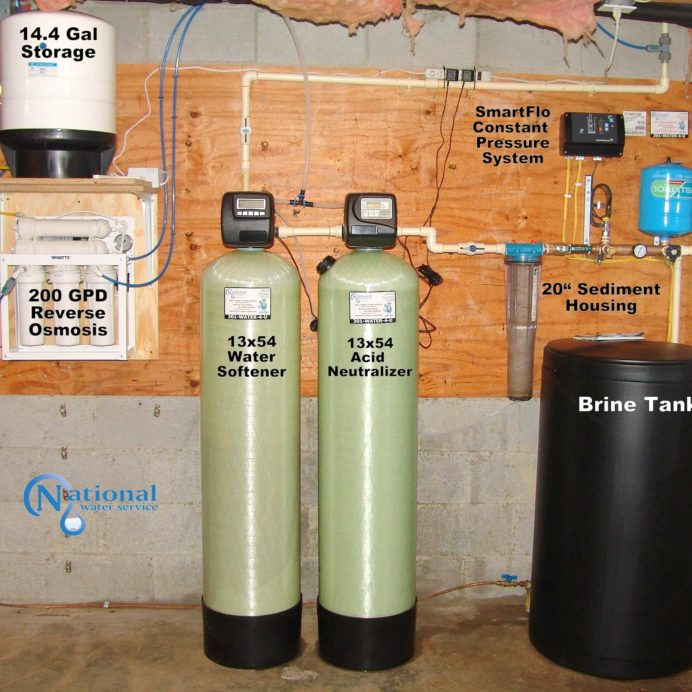 A Reverse Osmosis for 99.9% contaminant free drinking water,  a Water Softener with Brine Tank for hard water, an Acid Neutralizer for corrosion control, a Sediment Filter and a Well Water Constant Pressure System
