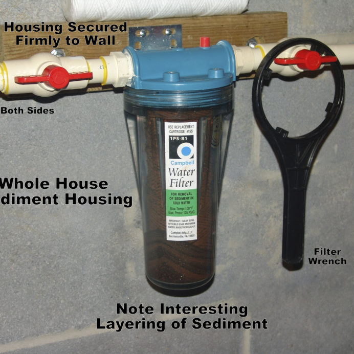 Whole House Sediment Filter displaying different levels of sediment