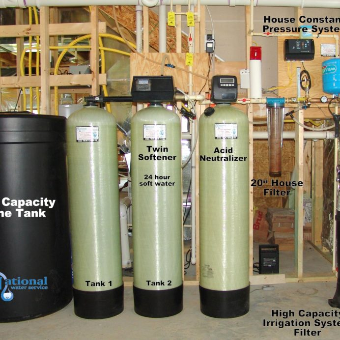 Twin Water Softeners for hard water with a High Capacity Brine Tank, an Acid Neutralizer for corrosion control, a whole house Sediment Filter, a Well Water Constant Pressure System and a High Capacity Sediment Filter for Irrigation