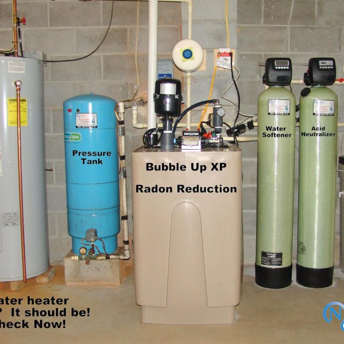 A Bubble-Up XP Radon in Water Remediation system, raised Hot Water Heater, Well Water Pressure Tank, a Water Softener for Hard Water, an Acid Neutralizer for corrosion control and a whole house Sediment Filter