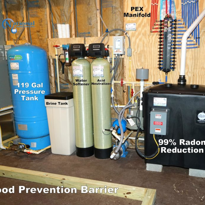 A Radon in Water Remediation System, a Well Water Pressure Tank, a Water Softener for hard water with Brine Tank, An Acid Neutralizer for pH control, a PEX Manifold, clear Sump Pump Cover and Isolation Flood Prevention Barrier