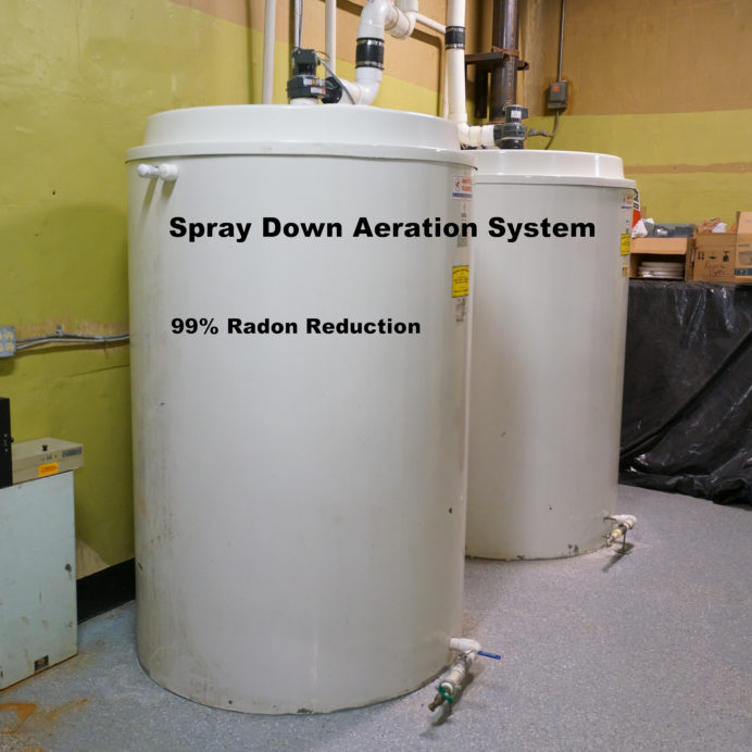 Spray Down Radon in Water Reduction System