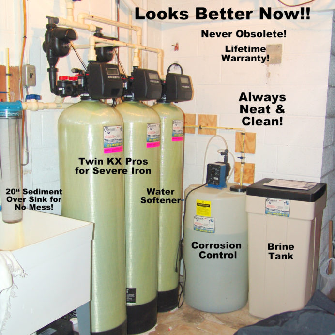 A Water Softener with brine tank for hard water, Twin KX Pro Tanks to remove high levels of iron from water, a sediment filter & a Chemical Feeder for pH & corrosion control