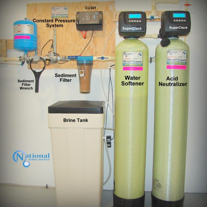 A Constant Pressure Well Water System, a Water Softener with brine tank for hard water, an Acid Neutralizer for pH & corrosion control and a whole house sediment filter