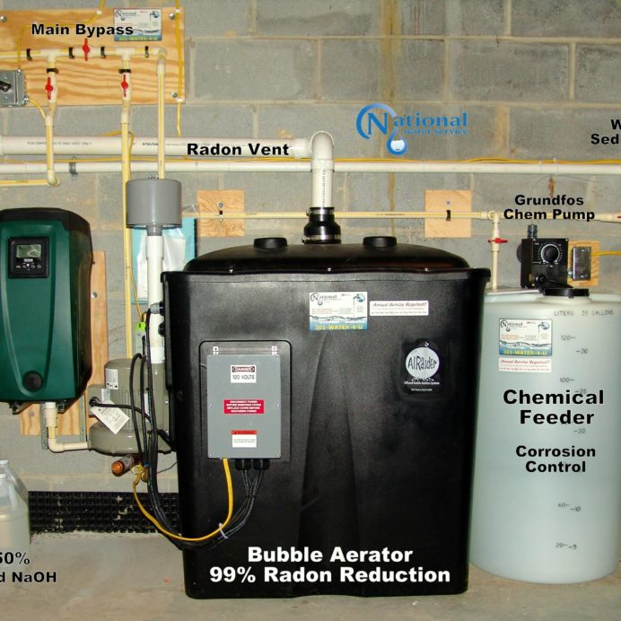 Cancer causing Radon in Water Remediation System with a water pressure booster pump, a Chemical Feeder for pH & corrosion control and a whole house sediment filter