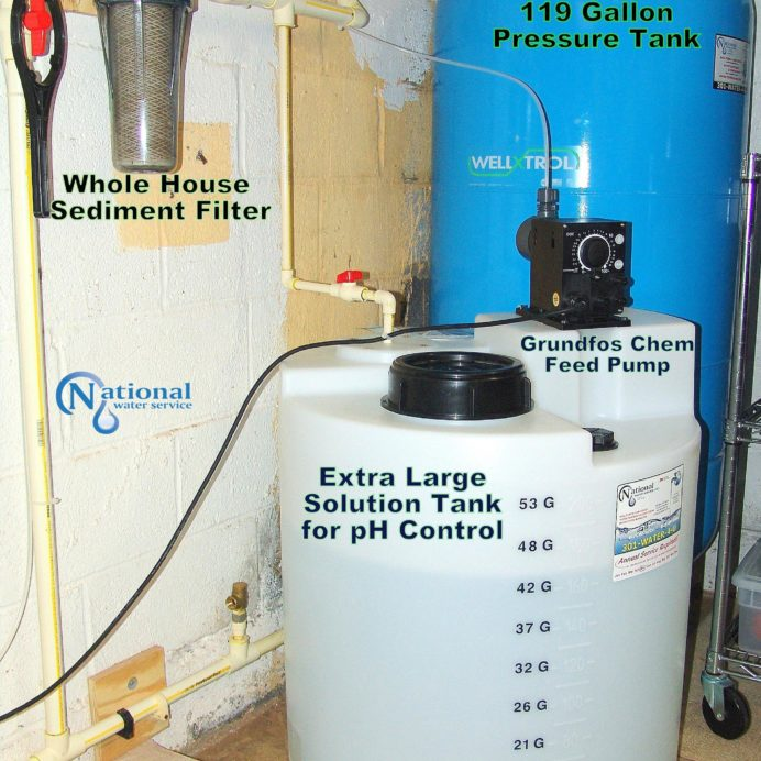 Chemical Feeder for pH and corrosion control, a Sediment Filter and 119 gallon well water Pressure Tank