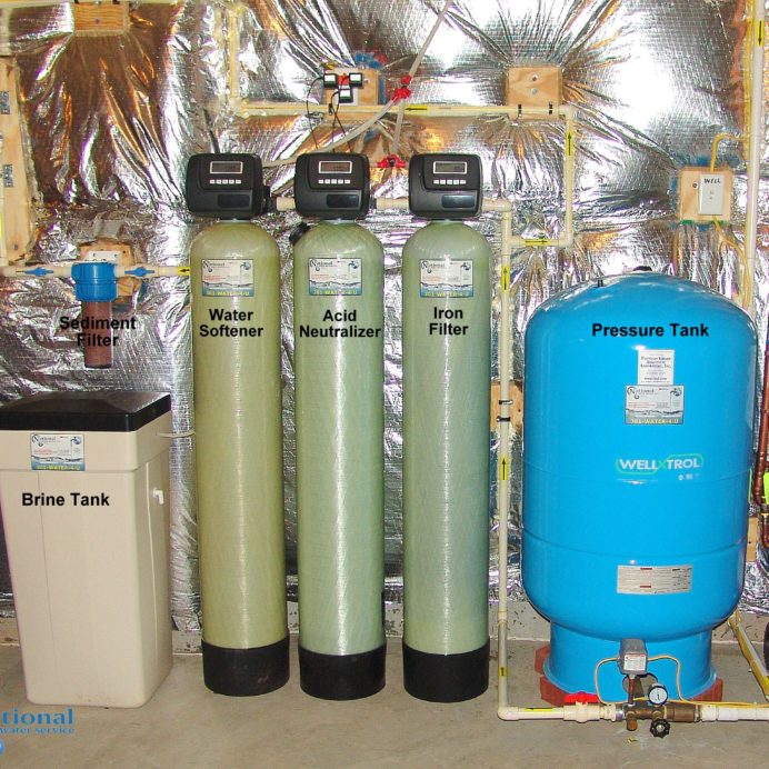 Water Softener with brine tank for hard water, a Sediment filter, an Acid Neutralizer for pH and Corrosion control, an Iron Filter and new well water Pressure Yank