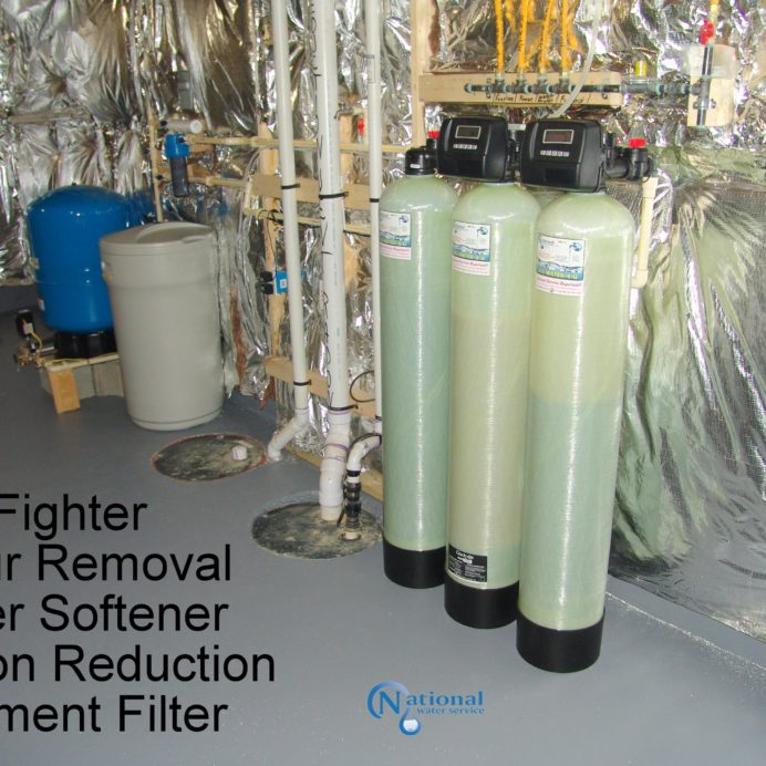 Carbon tank for the remediation of cancer causing radon in water, a Water Softener for hard hard water, a sediment filter and an Iron Breaker/Sulfur Breaker Tank