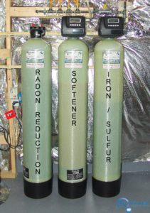 Carbon tank for the remediation of cancer causing radon in water, a Water Softener for hard hard water and an Iron Breaker/Sulfur Breaker Tank