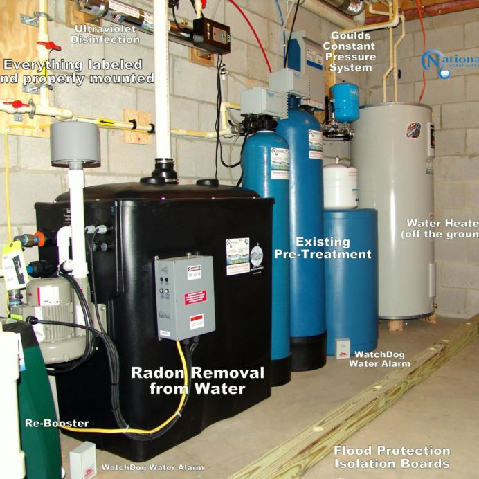 Radon in Water Remediation System to remove cancer causing radon from water with a water pressure booster pump, flood prevention isolation boards, raised Hot Water Heater and a Water Softener for hard water and an Acid Neutralizer for pH & corrosion control