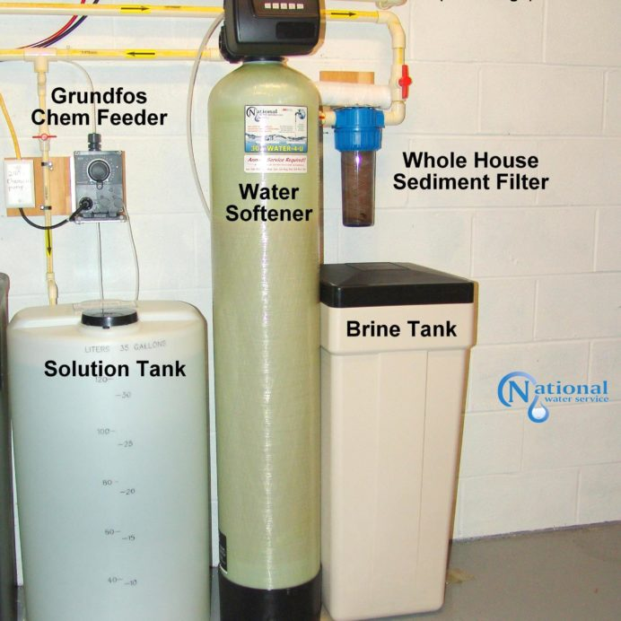 Chemical Feeder for pH and corrosion control, a Water Softener with brine tank for hard water and a whole house Sediment Filter