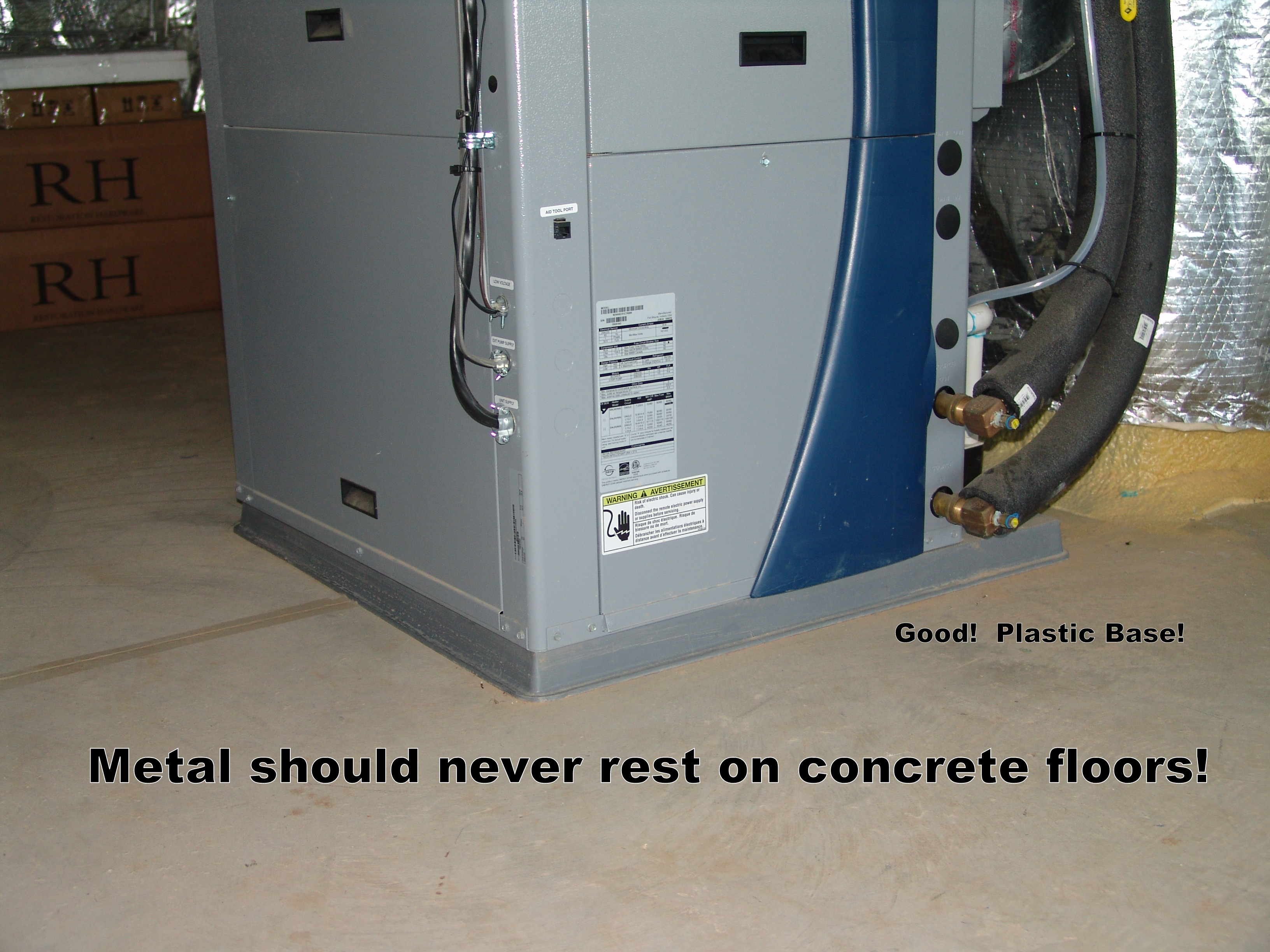 Hot Water Heater raised on a plastic base