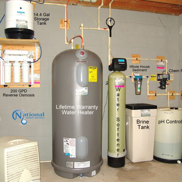 Whole House Water Treatment. A Reverse Osmosis for 99.9% contaminant free water, a  raised Hot Water Heater, a Water Softener for hard water, a Sediment Filter and a Chemical Feeder for pH and corrosion control