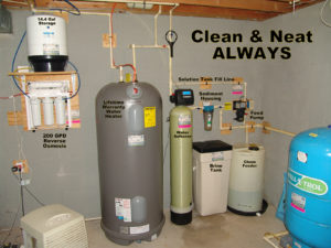 Whole House Water Treatment. A Reverse Osmosis for up too 99.9% contaminant free water, a raised Hot Water Heater, a Water Softener for hard water and a Solution Feeder for pH and corrosion control