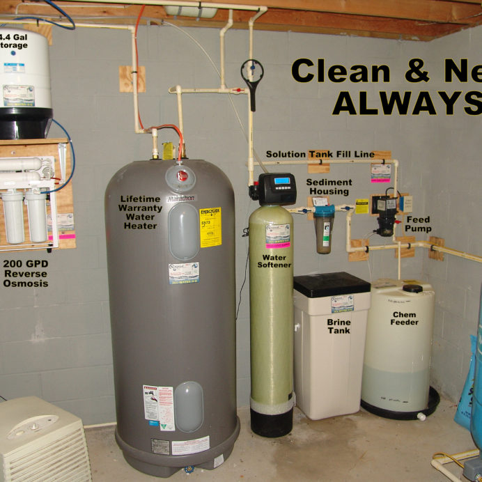 Whole House Water Treatment. A Reverse Osmosis for up too  99.9% contaminant free water, a  raised Hot Water Heater, a Water Softener for hard water and a Chemical Feeder for pH and corrosion control