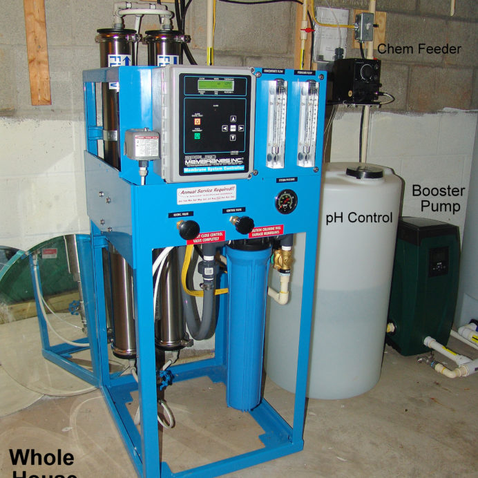 Whole House 4000 gallon per day Reverse Osmosis System for up too 99.9% contaminant free water, a chemical feeder for pH and corrosion control and a water pressure  booster pump