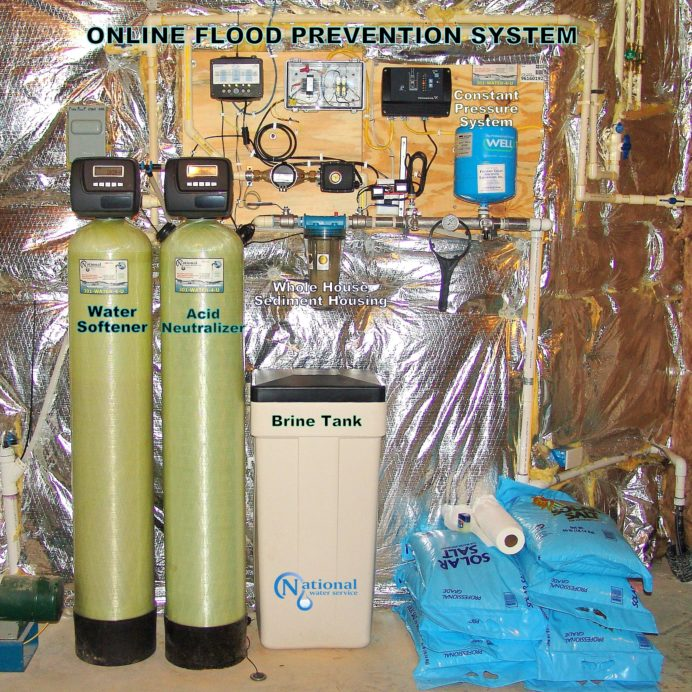 Water Softener with brine tank, Acid Neutralizer for pH & corrosion control, Constant Pressure Water System with online flood prevention and pump stop box