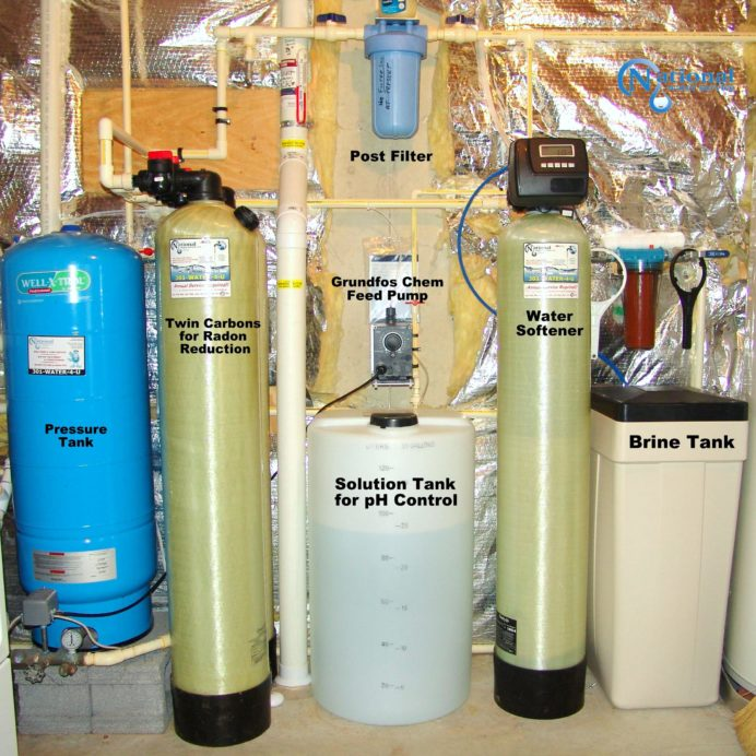 Whole House Water Treatment System. A Well Water Pressure Tank, Twin Carbon Tanks for smells, odors, low levels of radon and more,a Chemical Feeder for pH & corrosion control,a Water Softener with Brine Tank for hard water & a Sediment Filter.