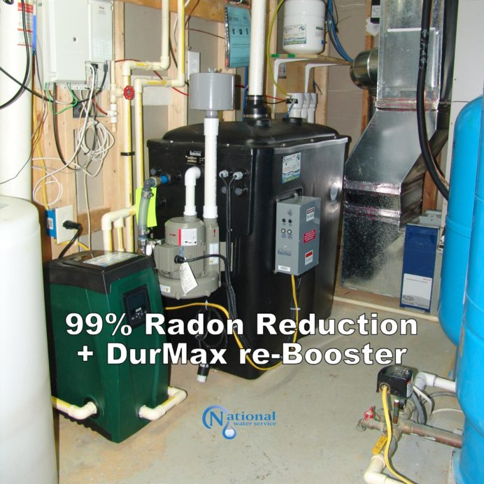 Radon in Water Remediation System with Water Pressure Re-booster