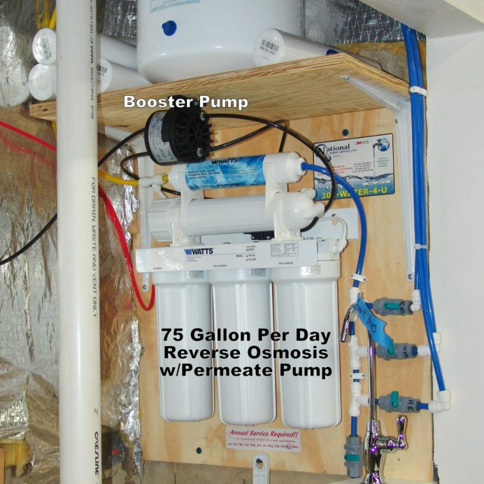 Reverse Osmosis System for up too 99.9% contaminant free cooking & drinking water with Water Re-Booster Pump