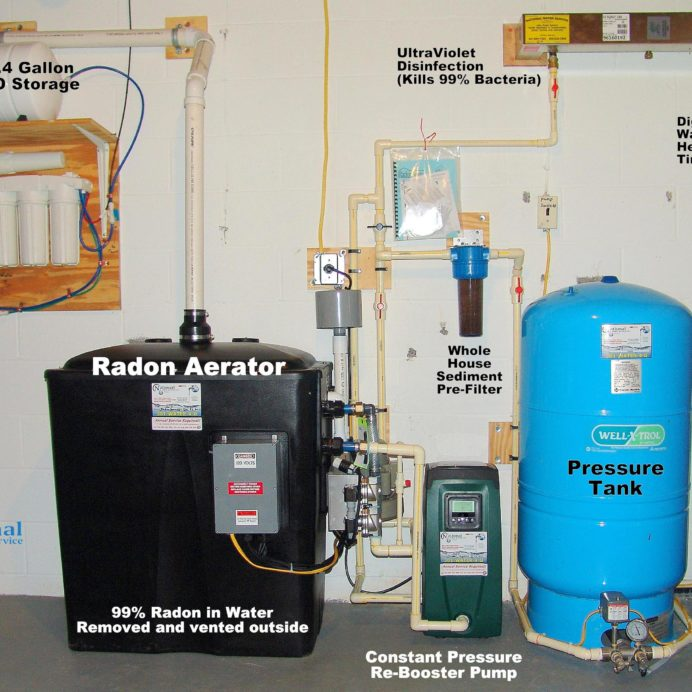 Whole House Water Treatment,  Radon in Water Remediation System with Water Booster Pump, Reverse Osmosis, Sediment Filter,  Well Water Pressure Tank, Ultraviolet Disinfection System