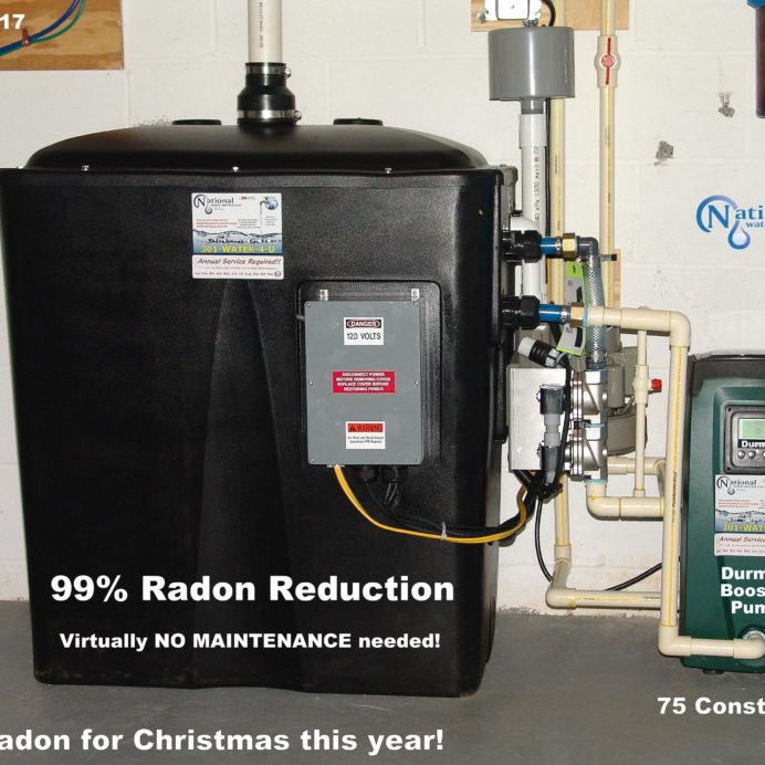 Radon in Water Reduction System with Water Booster Pump