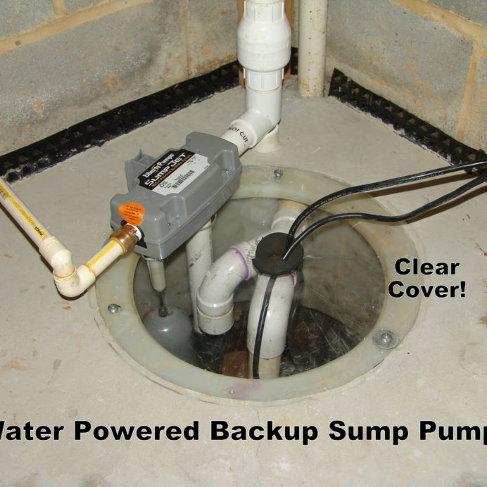 Water Powered Backup Sump Pump with Clear Sump Cover