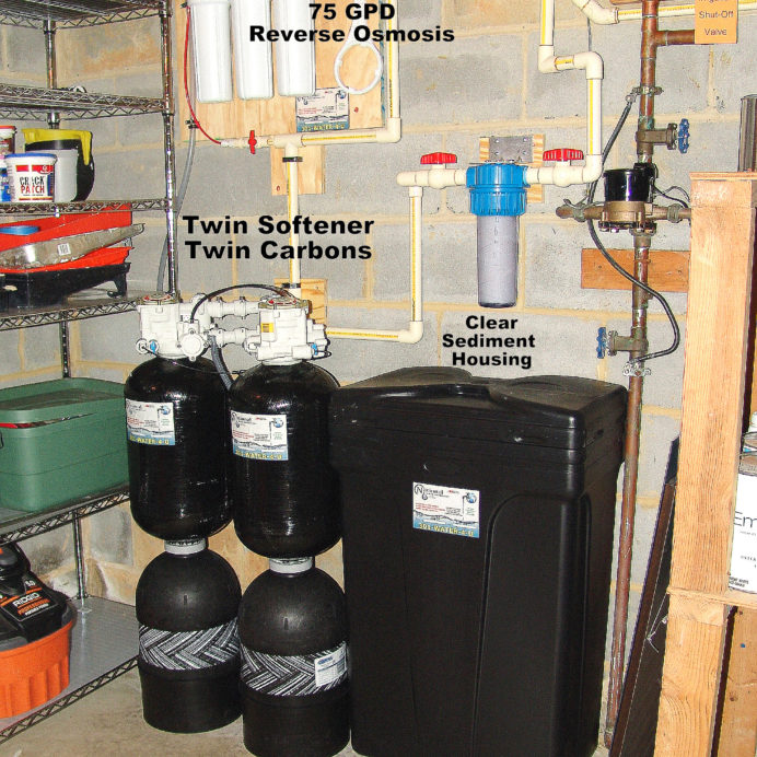 The Perfect City Water Treatment System. A Reverse Osmosis for 99.9% contaminant free drinking water and Twin Water Softener for hard water and Carbon Tank to remove low level