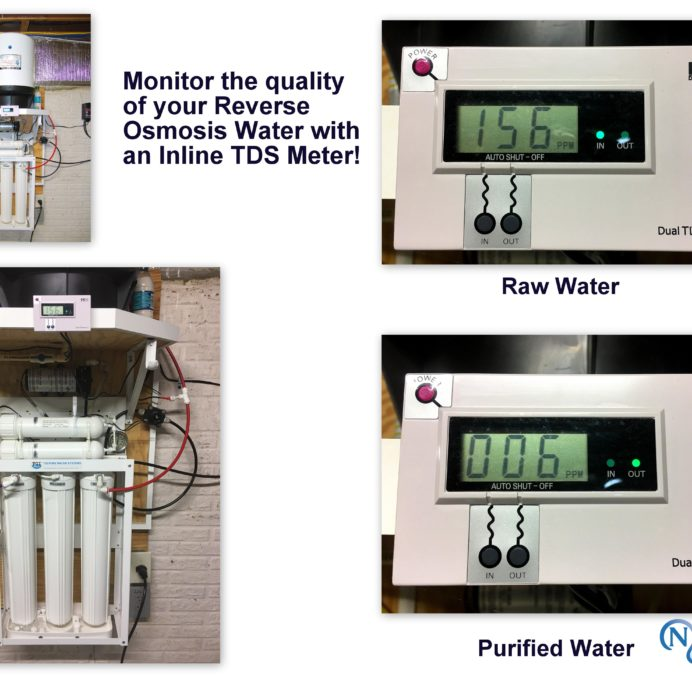 Reverse Osmosis System for 99.9% contaminant free cooking & drinking water with an Inline TDS (Total Dissolved Solids) Meter