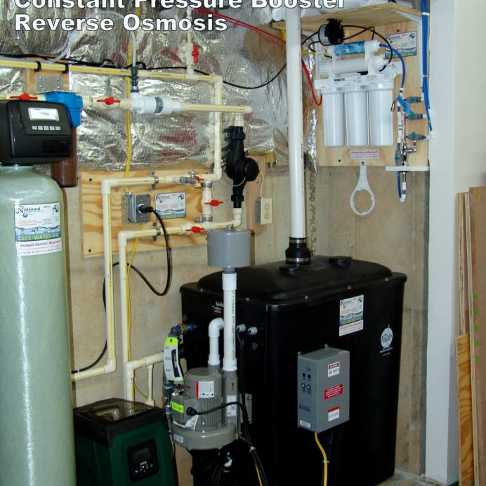 A Radon Reduction System for the remediation cancer causing radon in water, a Iron Turbidity Filter, a Constant Water Pressure System, a Reverse Osmosis System for 99.9% contamination free cooking and drinking water
