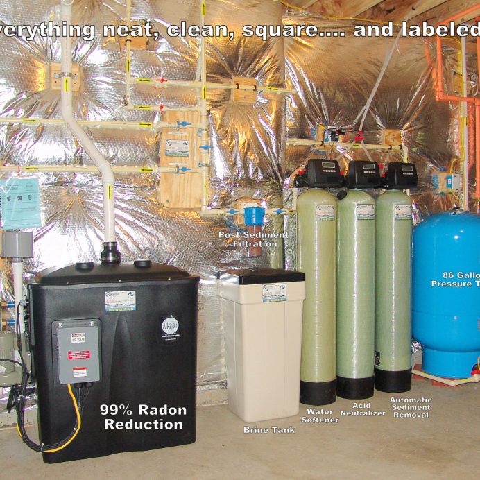 Radon Reduction System for the remediation of cancer causing radon in water, a Whole House Sediment Filter, a Turbidity Control System, an Acid Neutralizer, a Water Softener for hard water and a Pressure Tank