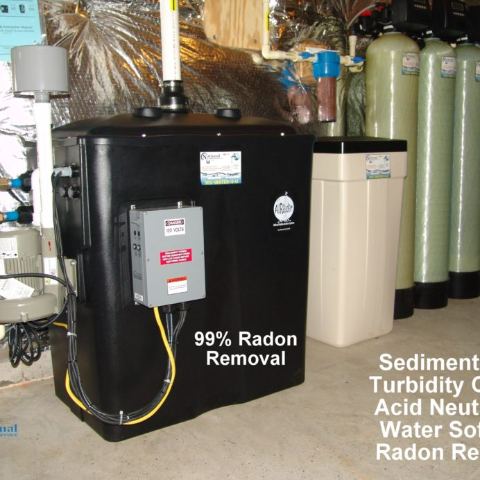 Radon Reduction System for the remediation cancer causing radon in water, a Whole House Sediment Filter, a Turbidity Control Sytem, an Acid Neutralizer for pH control, a Water Softener for hard water and a Pressure Tank