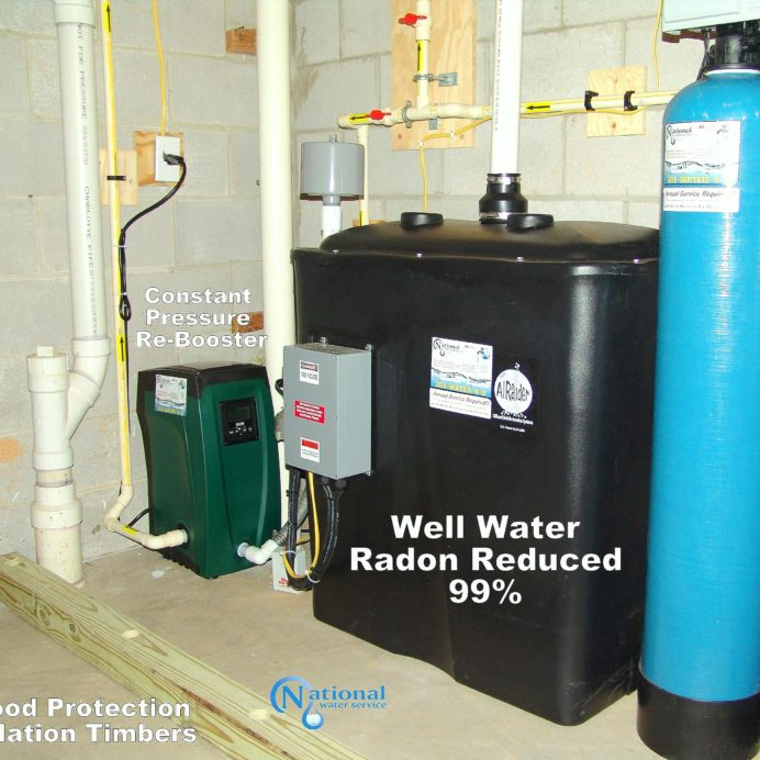 A Radon Reduction System for the remediation cancer causing Radon with a Water Pressure Re-Booster and Flood Protection Bars